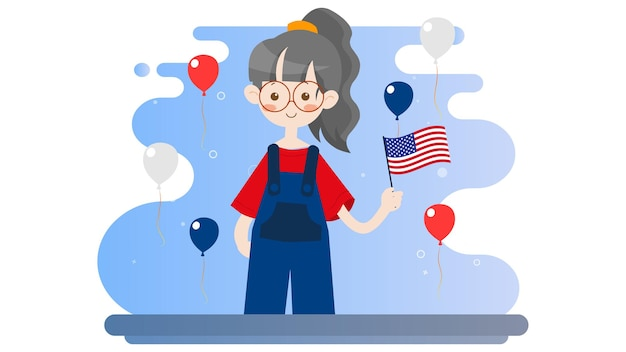 Happy independence day america 4th of july illustration background