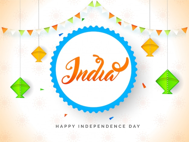 Happy independence day  banner  with hanging kite