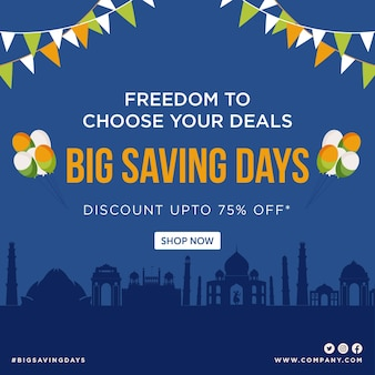 Happy independence day big savings days banner design template