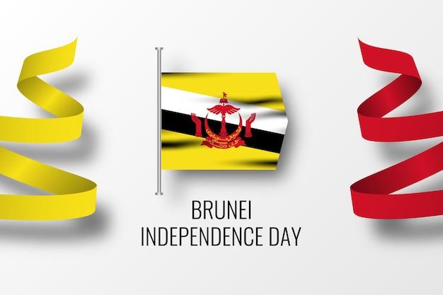 Счастливый день независимости бруней иллюстрация шаблон дизайна