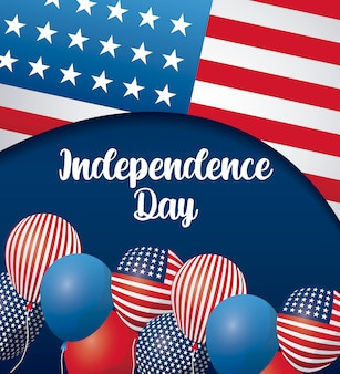 Happy independence day card with balloons helium and flag