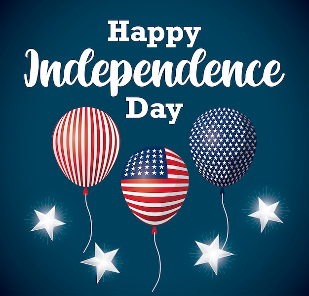 Happy independence day card with balloons helium