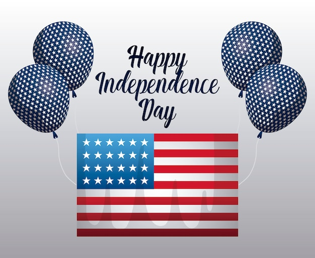 Happy independence day card with flag and balloons helium