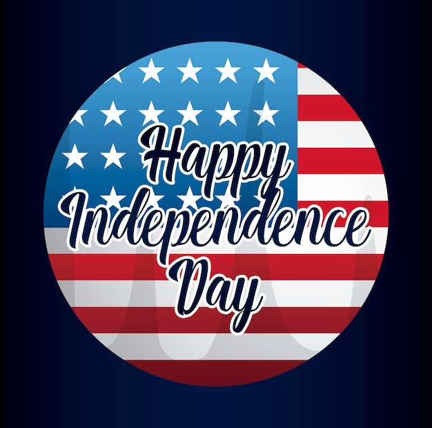 Happy independence day card with flag in frame circular