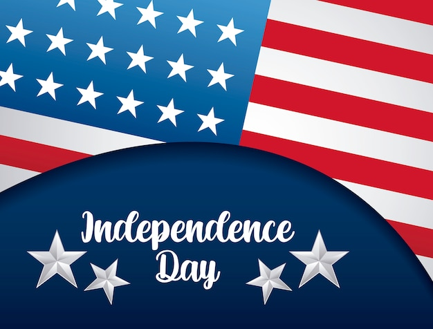 Happy independence day card with flag