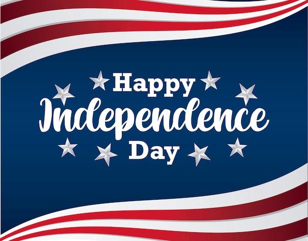 Открытка с днем независимости с флагом