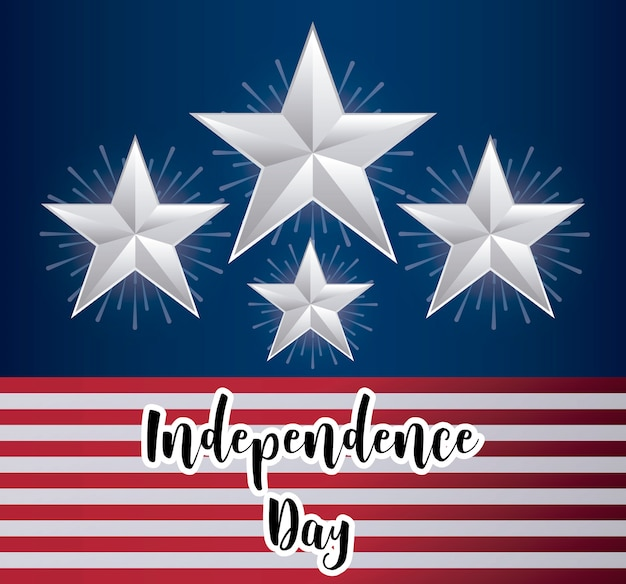Happy independence day card with stars