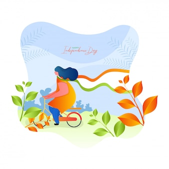 Happy independence day celebration poster design with illustration of a woman riding bicycle on nature view background.