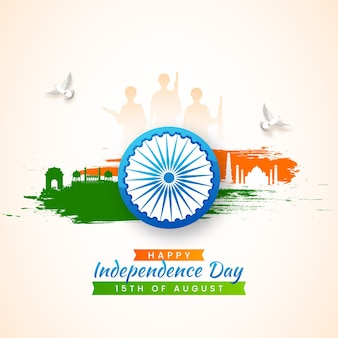 Happy independence day concept with ashoka wheel