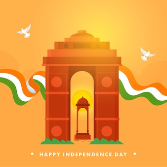 Happy independence day concept with india gate, canopy monument, tricolor ribbon and doves flying on saffron background.