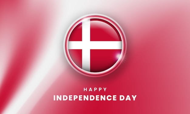 Happy independence day of denmark banner with danes 3d flag circle
