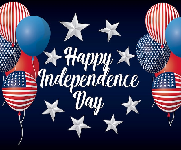 Happy independence day greeting card with balloons helium
