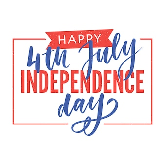 Happy independence day greeting card with font.  illustration.