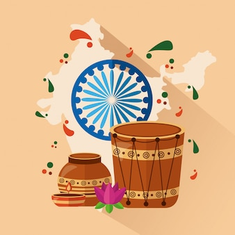 플랫 스타일의 인도에서 행복한 독립 기념일