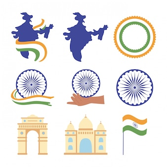 Happy independence day india, map flag landmark famous monuments wheel icons set illustration