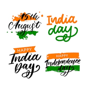 Happy independence day india set lettering