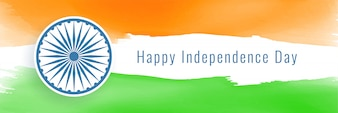 Happy independence day of india banner in flag style