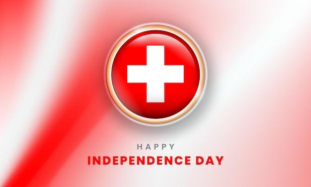 스위스 3d 플래그 원이 있는 스위스 배너의 행복한 독립 기념일