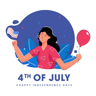 Happy independence day poster  with young girl holding a balloon and american flag on abstract background.