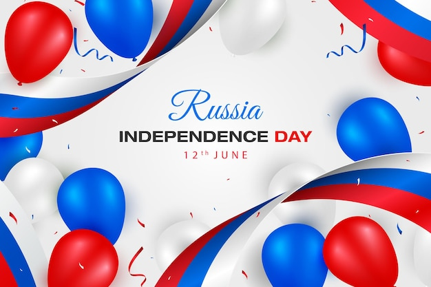 Happy independence day of russia card with red blue white flag and balloons