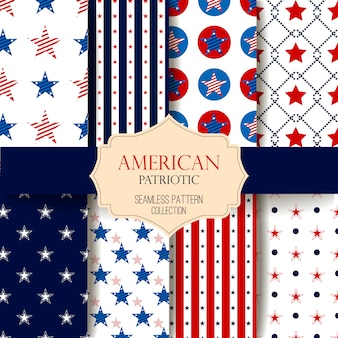 Happy independence day seamless pattern set. memorial day