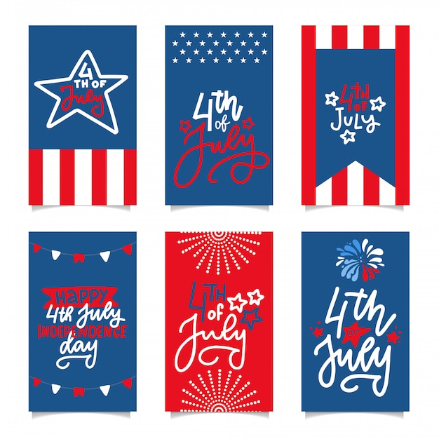 Happy independence day. set of american banners for 4th of july theme.