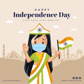 Happy independence day stay safe stay healthy banner design template