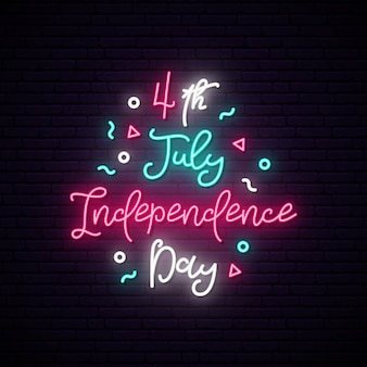Happy independence day of usa neon sign.