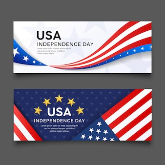 Happy independence day vector america flag banners collection design background illustration
