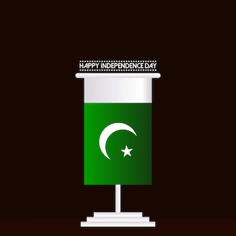 Happy independence day with pakistan flag stand
