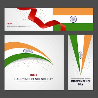 Happy india independence day banner and background set