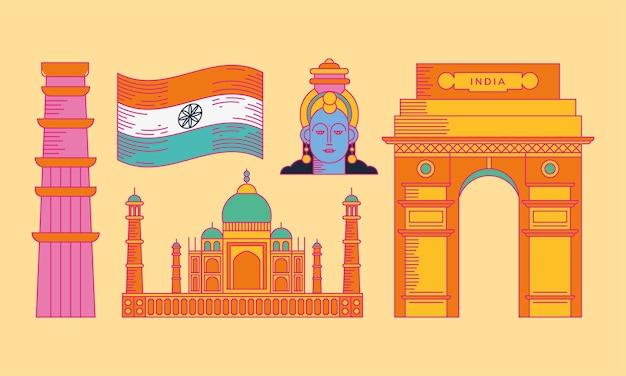 黄色の背景に設定された幸せなインド独立記念日のアイコン