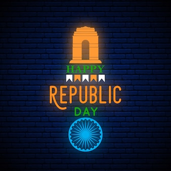 Happy india republic day neon banner.