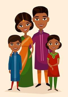 Счастливая индийская семейная пара с детьми