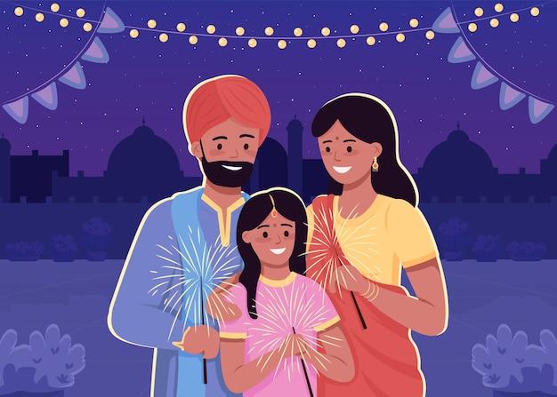 행복 한 인도 가족 평면 컬러 일러스트입니다. 전통적인 힌두교 휴일 축하. 국가 옷을 입은 자녀가있는 부모. 배경에 도시와 친척 2d 만화 캐릭터