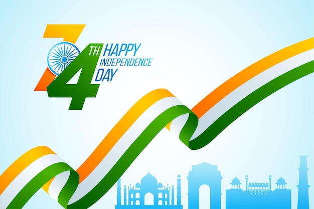Happy indian independence day celebration. national tricolor ribbon for 15 august with taj mahal, india gate, red fort and kutub minar