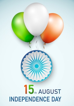 Happy indian republic day background with balloons in traditional tricolor of indian flag