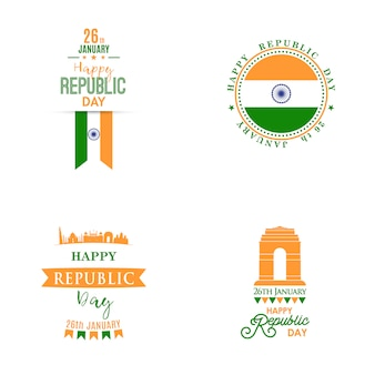 Happy indian republic day banners set.