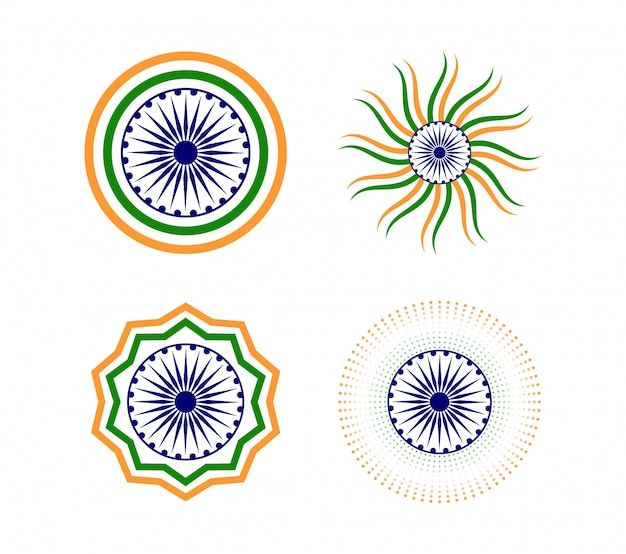 Happy indian republic day element icon set