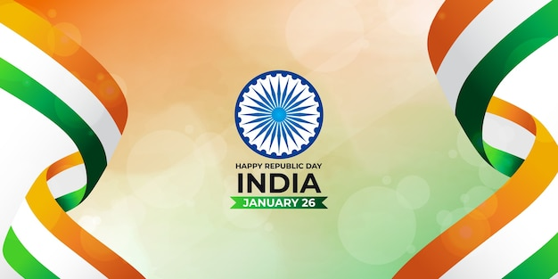 Happy indian republic day illustration with indian tricolor flag