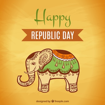 Happy indian republic day with decorative elephant