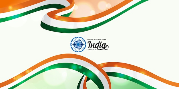 Happy indian republic day with indian tricolor flag