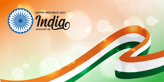 Happy indian republic day with tricolor flag