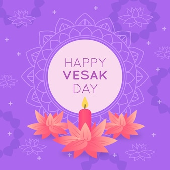Happy indian vesak day and pink flowers