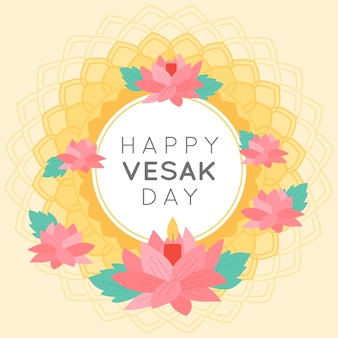 Happy indian vesak day wreath of flowers