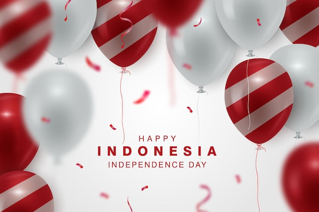 Happy indonesia independence day banner background with the red and white realistic balloon