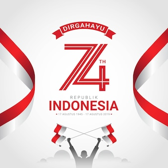 Happy indonesia independence day greeting card