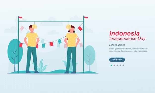 Happy indonesia independence day landing page template
