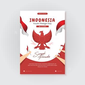 Счастливый индонезийский день обещаний молодежи на шаблоне плаката