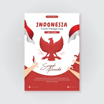 Happy indonesian youth pledge day on poster template